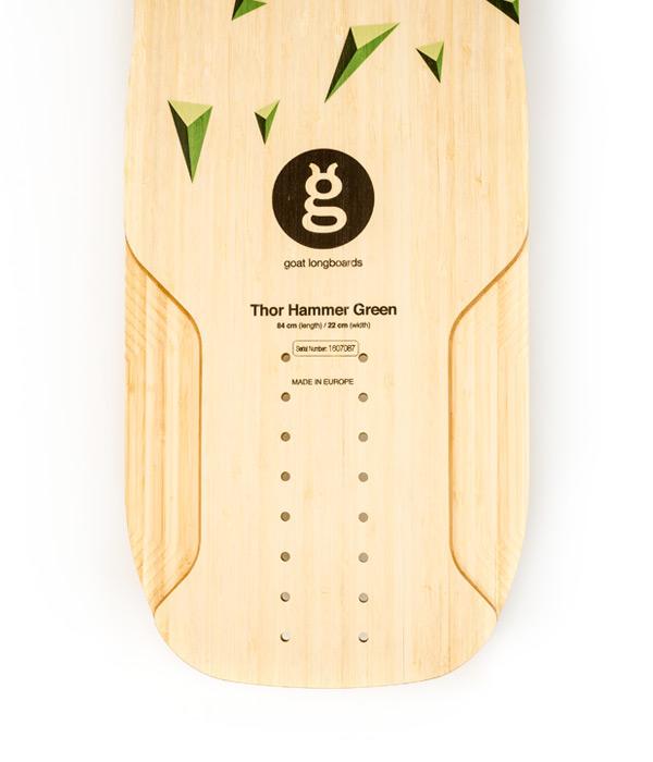 versión montaje downhill longboard bamboo thor hammer green